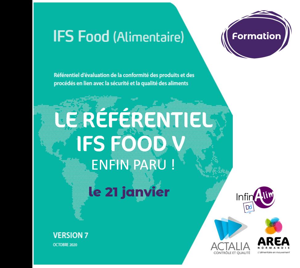 Formation « Comprendre les enjeux et exigences de l'IFS Food v.7 » le 21 janvier